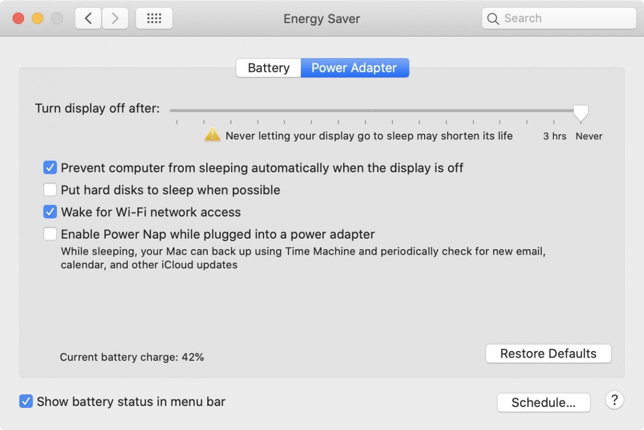 Cómo desactivar el modo de suspensión en un Mac